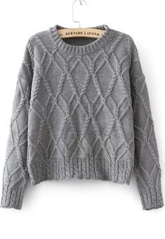 Shop Grey Long Sleeve Cable Knit Sweater online. Sheinside offers Grey Long Sleeve Cable Knit Sweater & more to fit your fashionable needs. Free Shipping Worldwide!