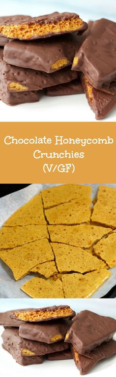 Chocolate Covered Honeycomb Crunchie bars! #Vegan #Gluten-Free #Dairy-Free