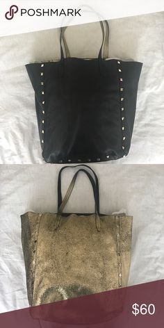 Black Leather Tote with Gold Studs Genuine leather (one side). Gently used. Reversible!! Perfect for everyday use/work. Fits a 13 inch laptop with room for wallet, folders, books, etc. Kenneth Cole Bags Totes