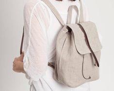 Linen and leather backpack, minimal backpack, rucksack, summer backpack, elegant rucksack, natural, neutral colors, lightweight, medium size