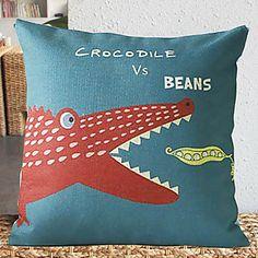 Cute Cartoon Crocodile Pattern Decorative Pillow Cover – USD $ 14.99