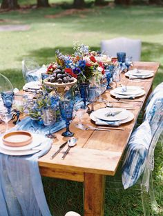 Still haven't found your something blue? This styled goodness from Couture Events and Wendy Laurel is sure to spark an idea. Indigo Wedding, Purple Wedding, Wedding Turquoise, Deeper Shade Of Blue, Something Blue Wedding, Flowers For You, Maui Weddings, Vintage Glassware, Wedding Table