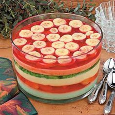 Six layer gelatin salad. I made this with strawberries rather than the bananas everyone loved it and it looks good. Great Xmas recipe,