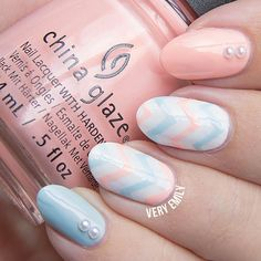 Instagram media by veryemily - No I'm not pregnant but wouldn't this make a cute baby shower mani if you don't know the gender yet?!  I used both @chinaglazeofficial colours I just posted from @naillandhungary and @bornprettystore pearls and @serumno5 nail vinyls. // More pics on the blog (link in bio)