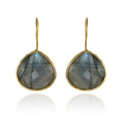 Gold Dangle Drop Earrings With Bezel Set Semiprecious Stone Earrings Labradorite Pradman. $79.99. All items are made with Natural Semi-Precious stone. Guaranteed Not to fade or any discoloration. Our Gold Plating is High Grade 18k Heavy 1.5 Micron Plating. Fast Shipping - Within 1 Business day. Labradorite Earrings