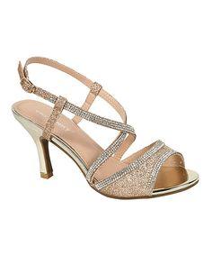 23cd07640f612 Loving this PINKY FOOTWEAR Gold Claudia Kitten-Heel Sandal on  zulily!   zulilyfinds