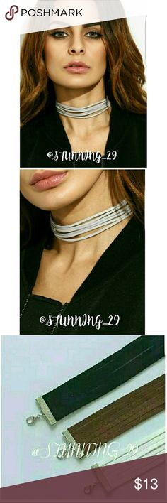 """HEATHER GREY VEGAN SUEDE 6 LAYER CHOKER GORGEOUS  HEATHER GREY 6 LAYER SOFT VEGAN SUEDE WRAP CHOKER W/ SILVER EXTENDER. ❤ALSO AVAILABLE IN A DARK BROWN COLOR *❤IN A DIFF LISTING IN MY CLOSET.  THESE MEASURE AT 17"""" TOTAL LENGTH INCLUDING THE EXTENDER.  EASY ADJUSTMENT FOR A COMFORTABLE WRAP FIT ON MOST NECK SIZES & PREFERENCE.  NOTE: THESE PAIR WELL W/ THE GREY COLD SHOULDER TOPS I HAVE.  ALWAYS ON TREND.  SHIPS BNWOT IN MANUF PLASTIC. PRESS THE BUY NOW BUTTON OR BUNDLE 3 ITEMS GET 25 % OFF…"""