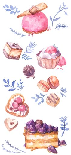 Watercolor illustrations of sweets, cakes and chocolates. Turned into printable planner and journal stickers for my Etsy shop.