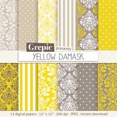 "Damask digital paper: ""YELLOW DAMASK"" digital paper pack with yellow damask backgrounds and classical patterns"