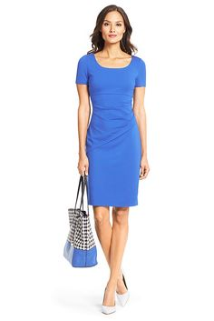 Our dream wear-to-work dress has been updated for Spring with a flattering short sleeve. The Bevina transitions easily from desk to dinner, with side ruching and a wide v-neck. Unlined. Side zip. Falls to knee. Fit runs small.
