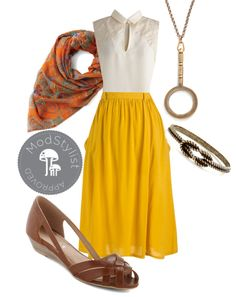 """""""Just Dandy Skirt in Goldenrod"""" by modcloth ❤ liked on Polyvore"""