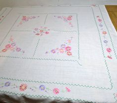Hand Embroidered Linen Tablecloth with Pink by FeltersCottage, £18.00