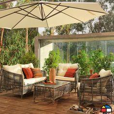 Juego de #living de aluminio con ratán de PE 4 piezas #terraza ...