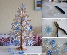 DIY Christmas tree ornaments made with plastic bottles bottom Pretty Christmas Trees, Christmas Crafts For Kids, Xmas Crafts, Christmas Tree Decorations, Christmas Tree Ornaments, Christmas Diy, Snowflake Ornaments, Diy Snowflakes, Xmas Tree