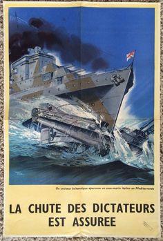 Original WW2 Poster British Navy 1943 Destroyer Warships Rams Italian Submarine