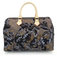 LOUIS VUITTON Monogram Fleur De Jais Sequins Speedy 30 NEW ❤ liked on Polyvore