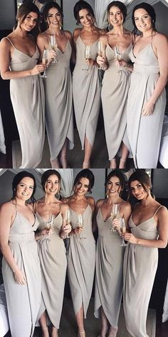 Neaest Simple V-neck Spaghetti Straps Sleeveless Grey Satin Cheap Bridesmaid  Dress e982a3b05a22