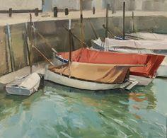 """""""Barques à La Flotte, Ile de Ré"""" Huile sur toile, 55x46cm"""