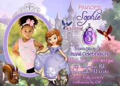 *************Welcome to Lily and Pip Printables!************ Thank you so much for stopping by! Your little one is sure to love this unique Sofia the Invitation! Looking for a matching Thank You? Please check out my Sofia Thank You here: Princess Sofia Invitations, Princess Sofia Birthday, Sofia The First Birthday Party, Happy 7th Birthday, Birthday Ideas, Digital Invitations, Printable Invitations, Invites, First Birthday Invitation Cards