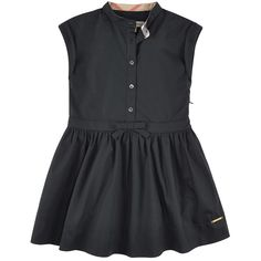 Pure cotton poplin Percale lining Flutter sleeves Back pleats Close fitting top Flared hem Gather detail under the waist Slit side pockets Round neckline Invisible zipper on the side Bow on the waistband Button strap on the chest Check details Logo metal plate - $ 119