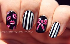 Cute bow and sexy lips nail art.