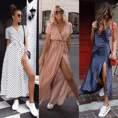 cute polka dot pieces for summer 22 Mode Outfits, Girl Outfits, Look Fashion, Fashion Models, White Sneakers Outfit, Stylish Tops, Casual Summer Dresses, Looks Style, Fashion Dresses