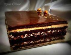 La Torta Sette Veli fu creata da tra 3 grandi maestri pasticceri come Biasetto, Mannori e Beduschi, con la quale hanno vinto a Lione la coppa del mondo nel 1997, ma la ricetta originale è a tutt'oggi segreta. Fab Cakes, Sweet Cakes, Yummy Cakes, Frosting Recipes, Cake Recipes, Opera Cake, Mousse, Modern Cakes, Torte Cake