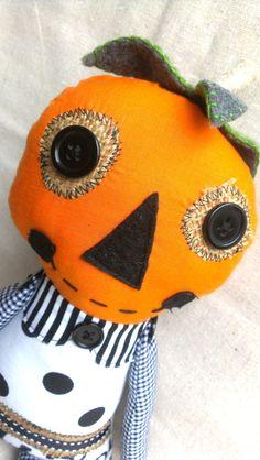Sandi the Pumpkin Plush Art Doll by MsBittyKnacks on Etsy, $28.00