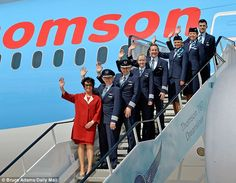 Crew: Thomson managing director Chris Browne (front) with the flight captains and crew who were on the 787 Boeing Dreamliner Tui Group, Thomson Airways, Boeing 787 Dreamliner, Manchester Airport, Cargo Airlines, Commercial Aircraft, Cabin Crew, Actor Model, Britain