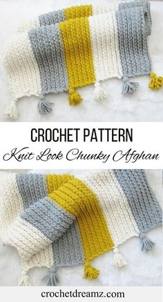 This crochet afghan pattern gives you a knit-look blanket. A combination of simp… This crochet afghan pattern gives you a knit-look blanket. A combination of simple stitches is used to design this quick to work up pattern. Afghan Crochet Patterns, Crochet Stitches, Knitting Patterns, Crochet Afghans, Baby Afghans, Baby Blankets, Crochet Granny, Crochet Simple, Free Crochet