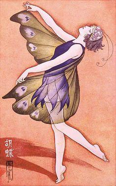 by Kasho Takabatake from Talking Heads No. Japanese Art Modern, Japanese Drawings, Pub Vintage, Vintage Art, Graphic Illustration, Illustrations, Vintage Fairies, Fairytale Art, Japan Art