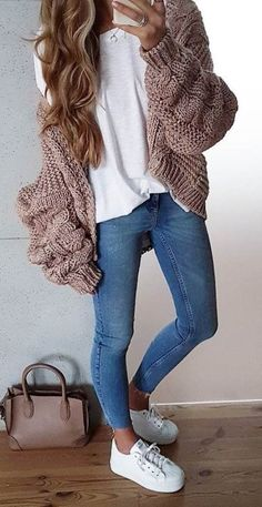 Cozy Fall Outfit Knit Cardigan Plus Top Plus Skinnies Plus Sneakers