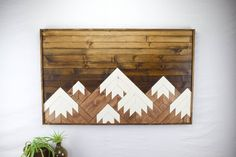 Wood Wall Art Modern Mountain Range Wood by RoamingRootsWoodwork
