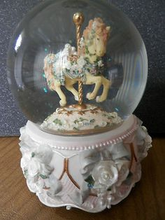 Carousel Horse Musical Globe Plays Memory by The San Francisco Music Box Co | eBay