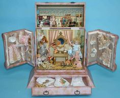 "Interior of my new display box for 5"" mignonette all bisque dolls or dollhouse scale dolls."