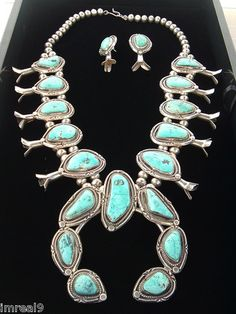 Huge 294G Old Pawn Navajo Squash Blossom Sterling Silver Turquoise Necklace Lot | eBay