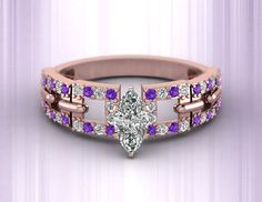 Linked Pave Ring || Marquise Shaped Diamond Side Stone Ring With Violac Topaz In 18k Rose Gold on We Heart It