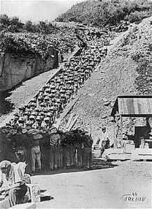 """Prisoners carry large stones up the """"stairs of death"""" (Todesstiege) from the Wiener Graben quarry at the Mauthausen Concentration Camp Nagasaki, Hiroshima, Fukushima, World History, World War Ii, Jewish History, Holocaust Books, Germany, Fotografia"""