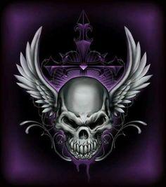 'Winged Head Of Death' by Skull Tattoo Design, Skull Design, Skull Tattoos, Dark Fantasy Art, Dark Art, Badass Skulls, Totenkopf Tattoos, Skull Pictures, Geniale Tattoos