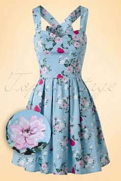 Bunny ~ 50s Belinda Floral Mini Dress in Blue                                                                                                                                                                                 More