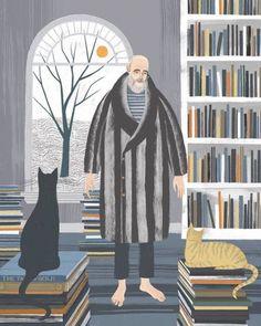 Lector, entre libros y gatos (ilustración de Sam Kalda)