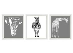 Safari Nursery Wall Art Prints - Black White Gray Decor Silhouette Giraffe Elephant Zebra - Children Room Home Decor set of 3 8x10 -- would do a different color***