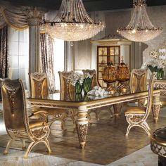 Estilo europeo de madera refinada tallado decorativo juego de comedor muebles de comedor de lujo