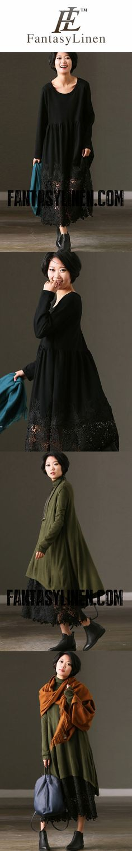 FantasyLinen Women Loose Basic Literary Lace Dress, Casual Dress in Black Q7237B