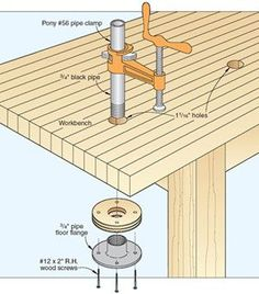 Woodworking Tips Unable to clamp together complex assemblies? No problem! Using one reader's benchtop clamping system you'll have no trouble mounting pipes in the flanges. Woodworking Workbench, Woodworking Workshop, Woodworking Projects, Woodworking Jigsaw, Workbench Ideas, Intarsia Woodworking, Woodworking Magazine, Welding Projects, Bois Diy