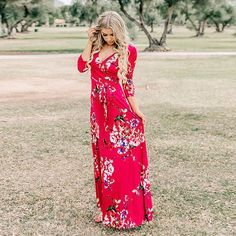 Sleeve V Neck Wrapped Scarlet Long Floral Dress Glam Dresses, Women's Fashion Dresses, Sexy Dresses, Summer Dresses, Long Floral Dresses, Woman Dresses, Floral Fashion, Modest Dresses, Summer Clothes