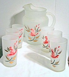 Anchor Hocking - Frosted Pitcher & Glasses Set - 7 pc - Gay Fad Decorated