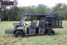 2010 Polaris Crew with a top bench seat, dog cages, front baskets, fold up windshield and lots more. This is on factory suspension and handles very well. We build them light. Pick Up, Hunting Truck, Hunting Gear, Quad, Best Atv, Polaris Ranger Crew, Dumb Dogs, Polaris Atv, Quail Hunting