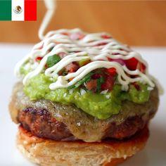 Mexican Burger with Chorizo, Ceese, Pico de Gallo, Guacamole and Sour Cream
