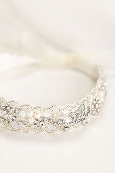 Crystal and Beaded Headband with Ribbon Tie Style H9044, Ivory *** Read more reviews of the product by visiting the link on the image. http://www.amazon.com/gp/product/B00GXAV2OY/?tag=beautycare888-20&pij=260916030011